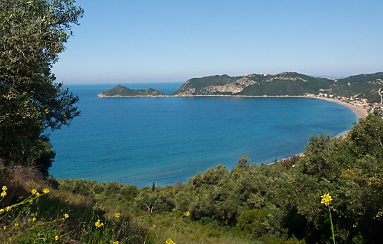 Photograph over Agios Georgios Bay